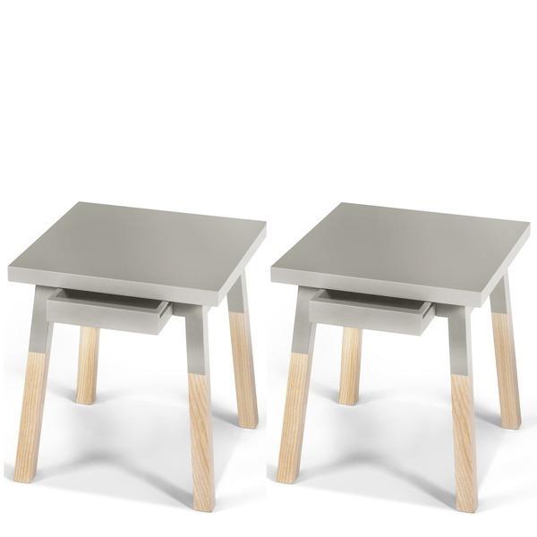 Mon petit meuble français - 2 chevets laqués, 1 tiroir en frêne 35x35 cm