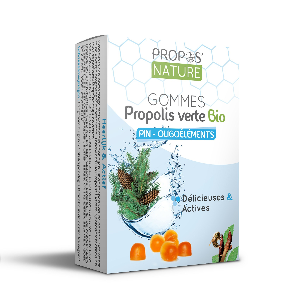 Propos'Nature - Gommes Propolis Verte Oligoéléments/Pin - Sans Su
