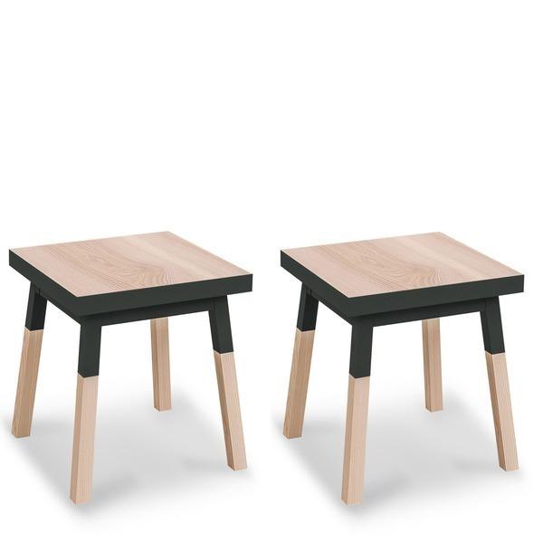 Mon petit meuble français - 2 chevets en frêne massif, 1 tiroir 40x40 cm