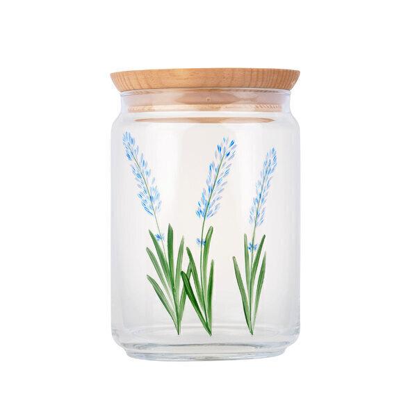 By Tiline - Bocal en verre 1L et couvercle bois - Lavande Bleue