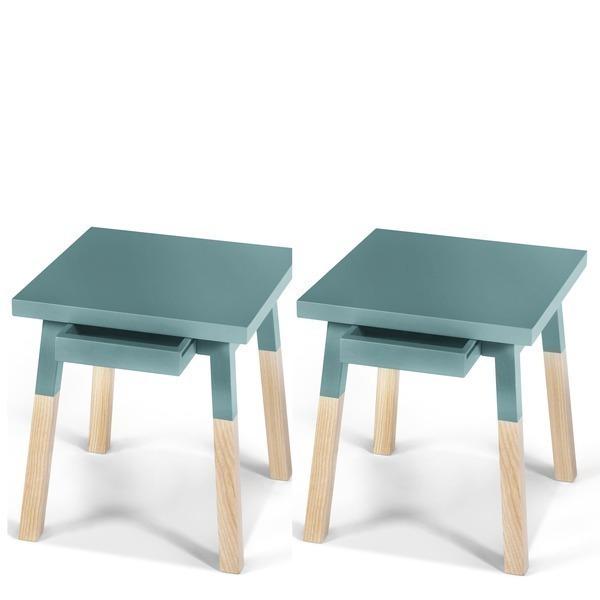 Mon petit meuble français - 2 chevets laqués, 1 tiroir en frêne 40x40 cm
