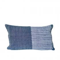 TrendEthics - Coussin tissé en coton bleu 30x50