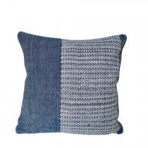 TrendEthics - Coussin tissé en coton bleu 40x40