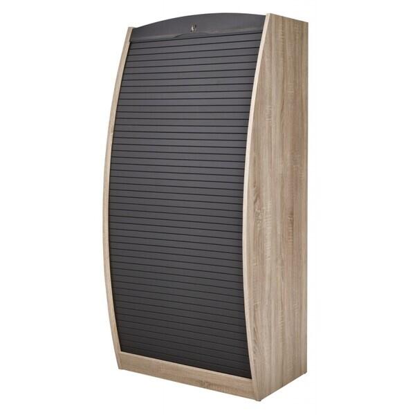 Simmob - Armoire Informatique Galbée Chêne Noir