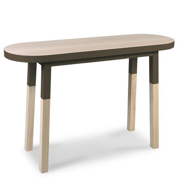 Mon petit meuble français - Console ovale haute 100% frêne massif 140x45 cm