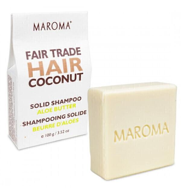Maroma - Shampoing solide à l'huile de Coco Bio et au beurre d'Aloès 100g