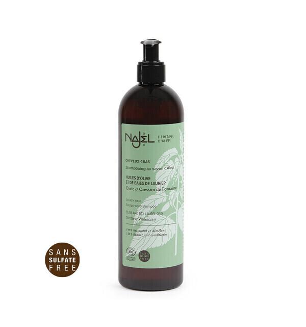 Najel - Shampoing au savon d'Alep 500ml nettoyant et démêlant cheveux gr