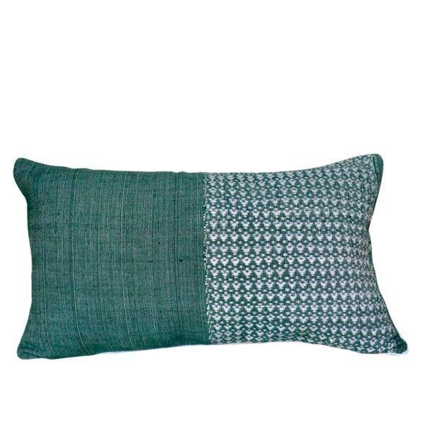 TrendEthics - Coussin tissé en coton vert 30x50