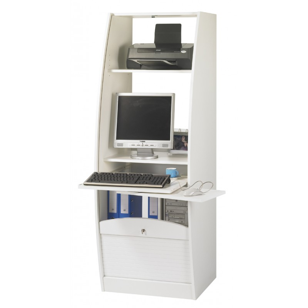 Simmob - Armoire Informatique Galbée Largeur 60 cm - Blanc