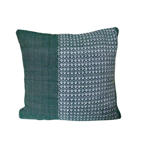 TrendEthics - Coussin tissé en coton vert 40x40
