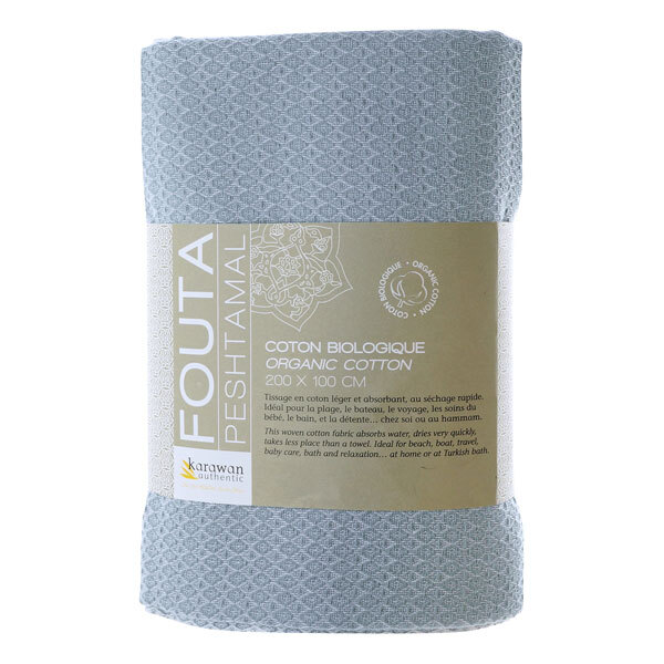 Karawan - Fouta White Sand blanc et mirage en coton bio 100x200cm