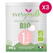 Everymilk - Lait infantile Bio everymilk 1 de 0 à 6 mois - lot de 3 boîtes