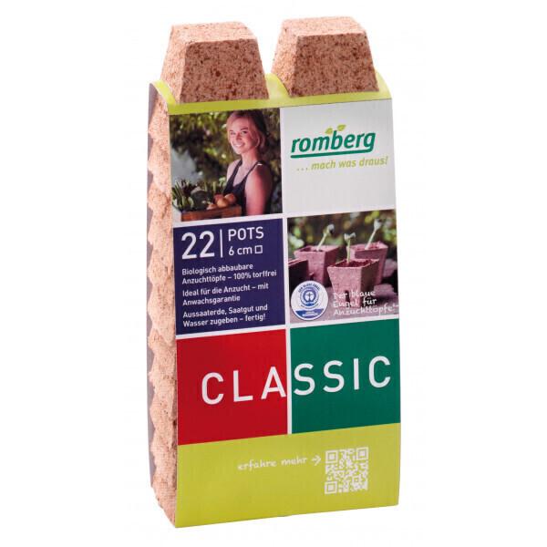 Romberg - 22 pots biodégradable 6 cm carré