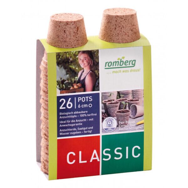 Romberg - 26 pots biodégradables 6 cm rond