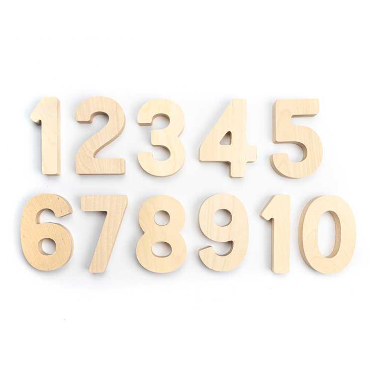 FLOCKMEN - Lot de 10 chiffres en bois