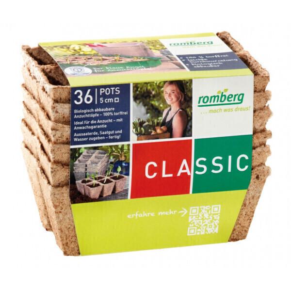 Romberg - 36 pots biodégradables 5 cm carrés