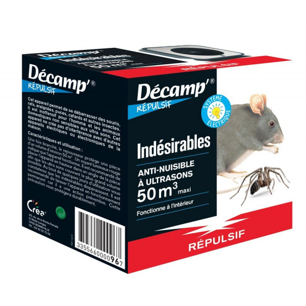 Décamp' - Repousseur à ultrasons, contre les souris et rempants, 50m3