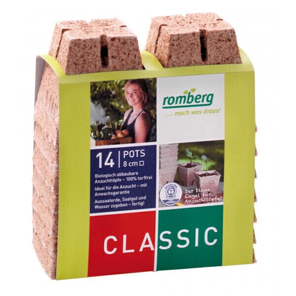 Romberg - 14 pots biodégradables 8 cm carrés