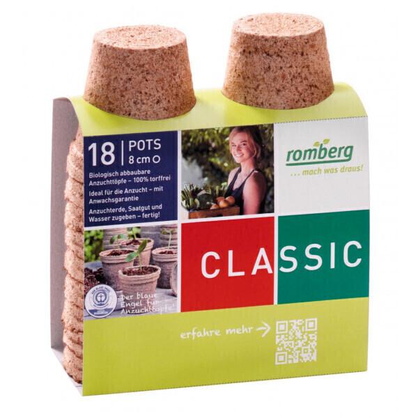 Romberg - 18 pots biodégradable 8 cm