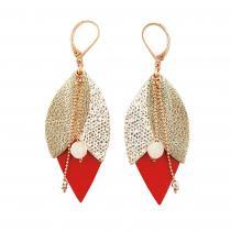 Ni une ni deux - Boucle d'oreille Tulipe rouge en cuir