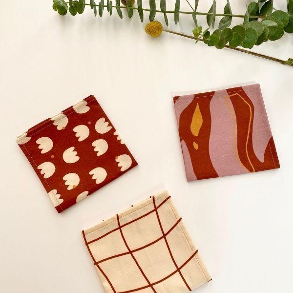 ernest&lulu - Lot de 3 mouchoirs en tissu bio - collection jeanne&bernard