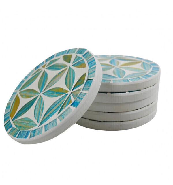 Coco Papaya - Sous-verres ronds motif Fleur de Vie en mosaïque coloris Bleu ø1