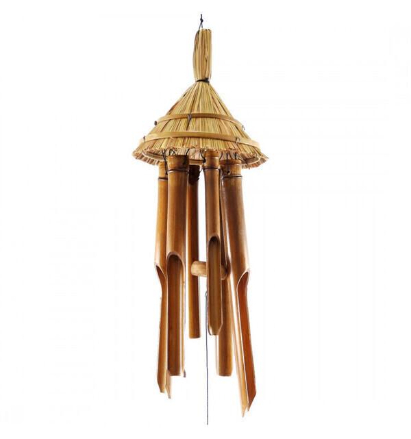 Coco Papaya - Carillon à vent en bambou - décor chapeau de paille