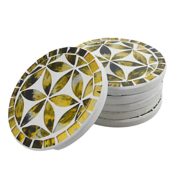 Coco Papaya - Sous-verres ronds motif Fleur de Vie en mosaïque coloris Noir et