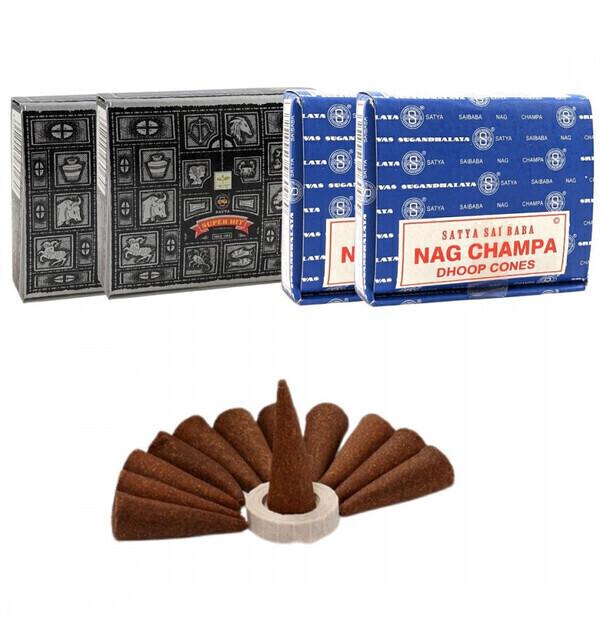 Satya - Assortiment de cônes d'encens Nag Champa + Super Hit. Lot de  4