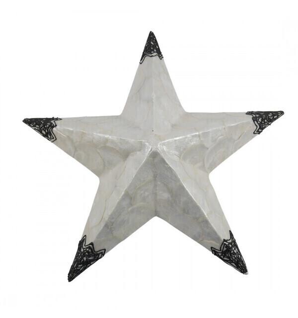 Coco Papaya - Applique murale étoile en nacre et fer forgé 50cm
