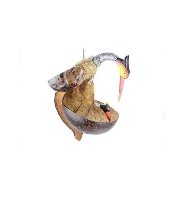 Coco Papaya - Mangeoire à oiseaux artisanale en noix de coco
