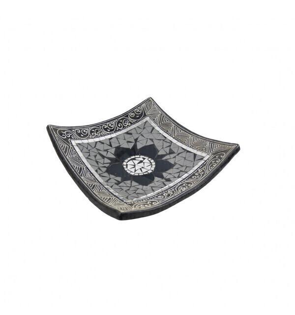 Coco Papaya - Plat Mosaïque carré en Terre cuite 20x20cm - Décor gris, noir &