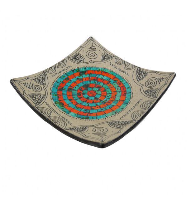 Coco Papaya - Coupelle carrée en Terre cuite 25x25cm - Décor Sable & Mosaïque