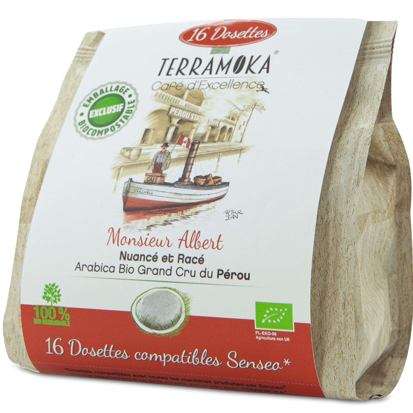 Terramoka - Café Bio 16 dosettes Senseo® Albert - Arabica du Pérou