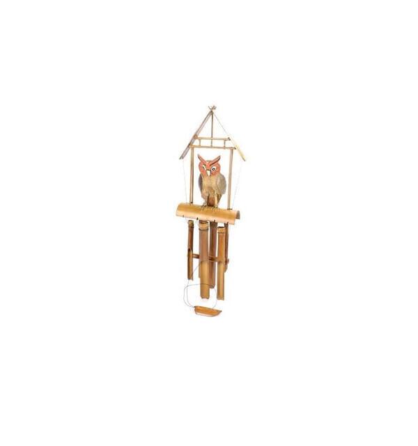 Coco Papaya - Carillon à vent artisanal en bambou décor Chouette - Hibou