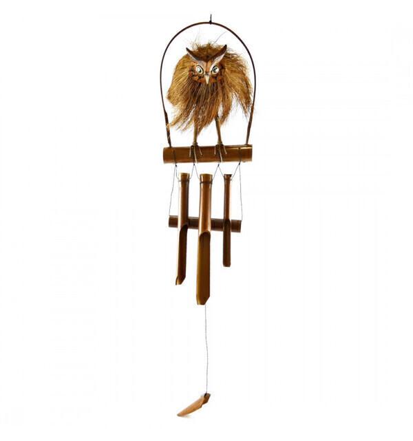 Coco Papaya - Carillon à vent artisanal en bambou et noix de coco décor Chouet