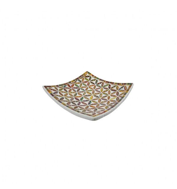 Coco Papaya - Coupelle Mosaïque carrée en Terre cuite 20x20cm - Décor en Mosaï