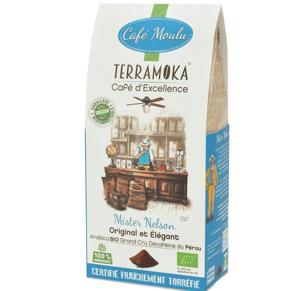 Terramoka - Café Bio moulu Mister Nelson - Décaféiné - 100% Arbica du Pérou