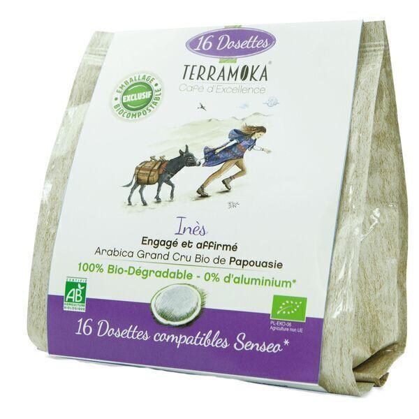 Terramoka - Café Bio x16 dosettes Senseo® Inès - 100% Arabica de Papouasie