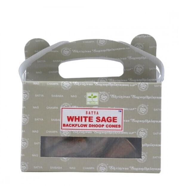 Satya - Boîte de 24 cônes d'encens Backflow Sauge Blanche - Encens indie