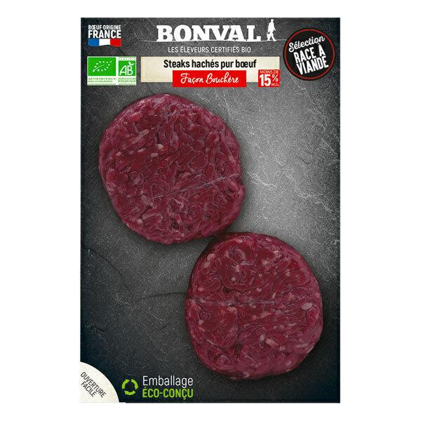 Bonval - Steak haché pur boeuf façon bouchère 2x125g