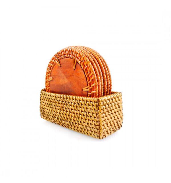 Coco Papaya - Coffret 6 sous-verres ronds en bois et rotin