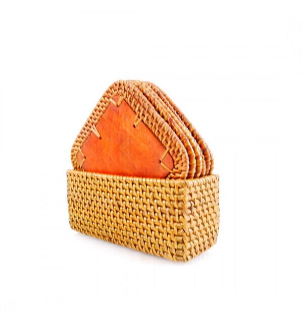 Coco Papaya - Coffret 6 sous-verres carrés en bois et rotin