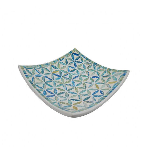Coco Papaya - Plat Mosaïque carré en Terre cuite 25x25cm - Décor Bleu en Mosaï