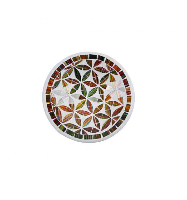 Coco Papaya - Petit plat ø20cm en Terre cuite et Mosaïque de verre - Multicolo