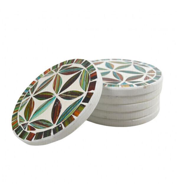 Coco Papaya - Sous-verres ronds motif Fleur de Vie en mosaïque Multicolore ø10