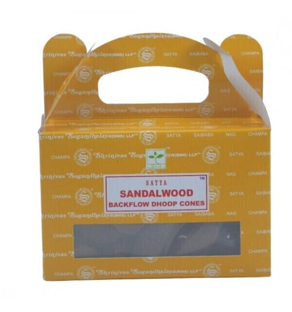 Satya - Boîte de 24 cônes d'encens Backflow Bois de Santal - Encens indi