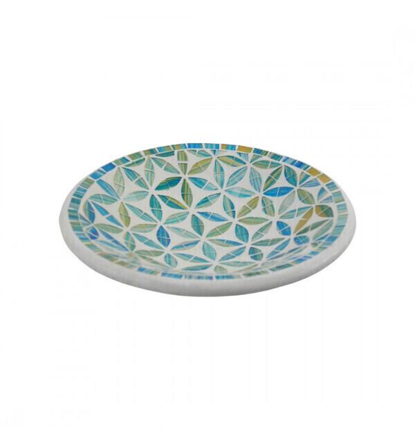 Coco Papaya - Plat Mosaïque rond en Terre cuite ø20cm - Décor Bleu en Mosaïque