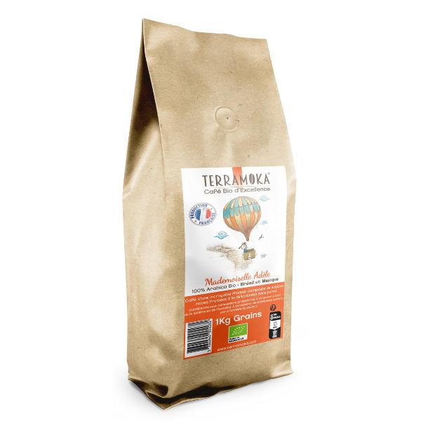 Terramoka - Café Bio en grains 1 KG Adèle - Arabica du Brésil et du Mexique