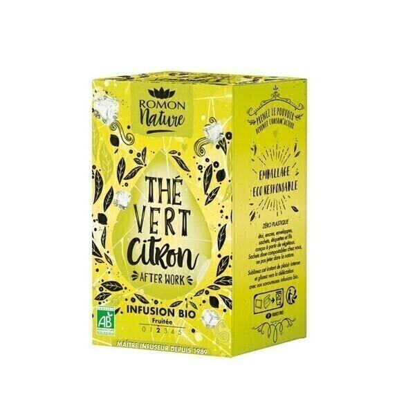 Romon Nature - Infusion Thé vert Citron bio - 16 sachets